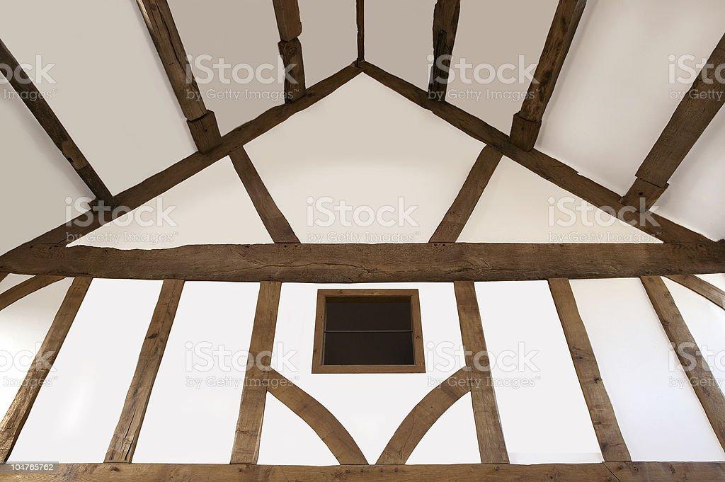 Oak beamed ceiling stock photo