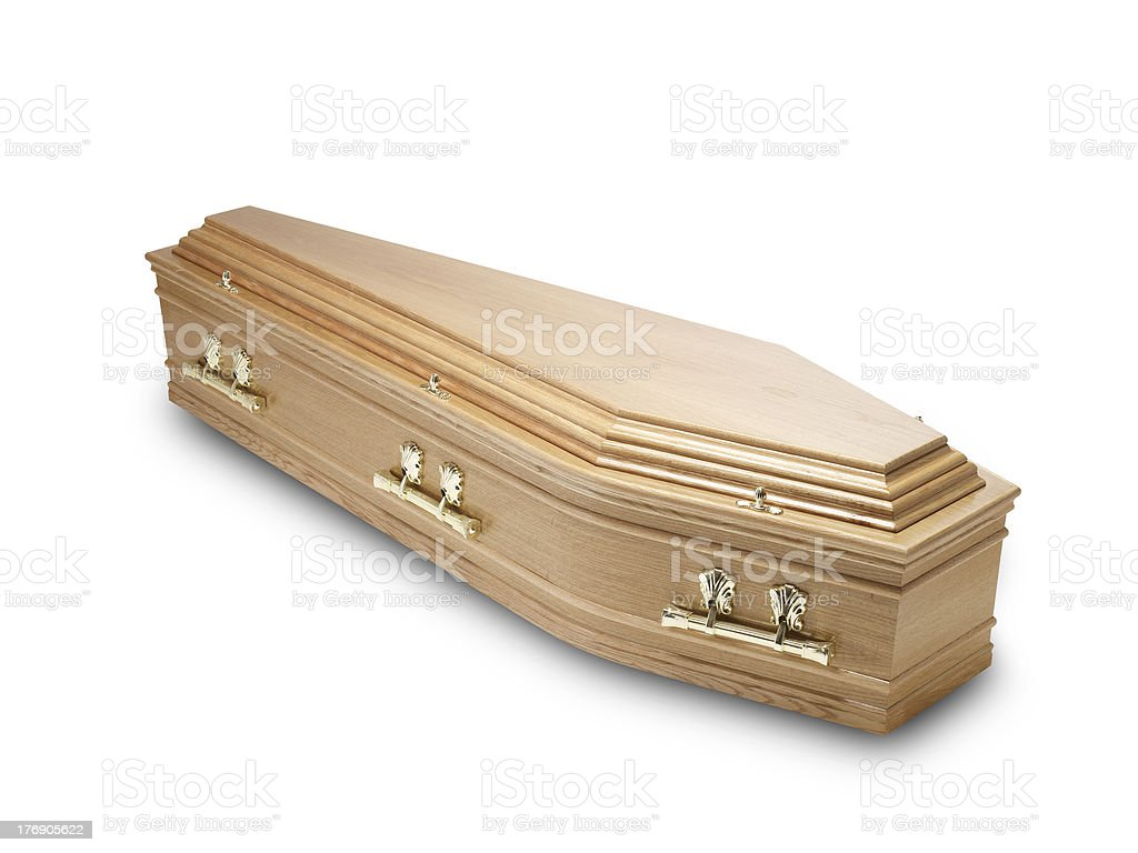 oak coffin casket isolated on white with clipping path royalty-free stock photo