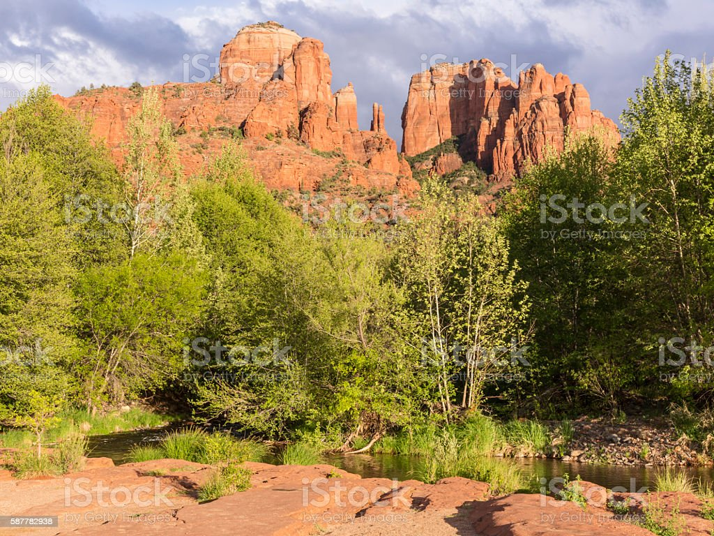 Oak Creek and Cathedral Rock Buttes stock photo