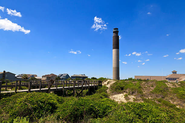 Oak Island Lighthouse in Caswell Beach Located in Caswell Beach, North Carolina, built in 1958, 148 foot tall beacon north carolina us state stock pictures, royalty-free photos & images