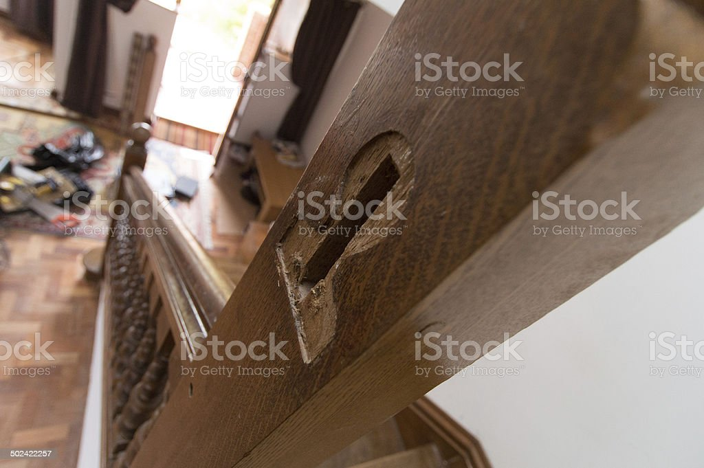 Oak Staircase Joinery royalty-free stock photo