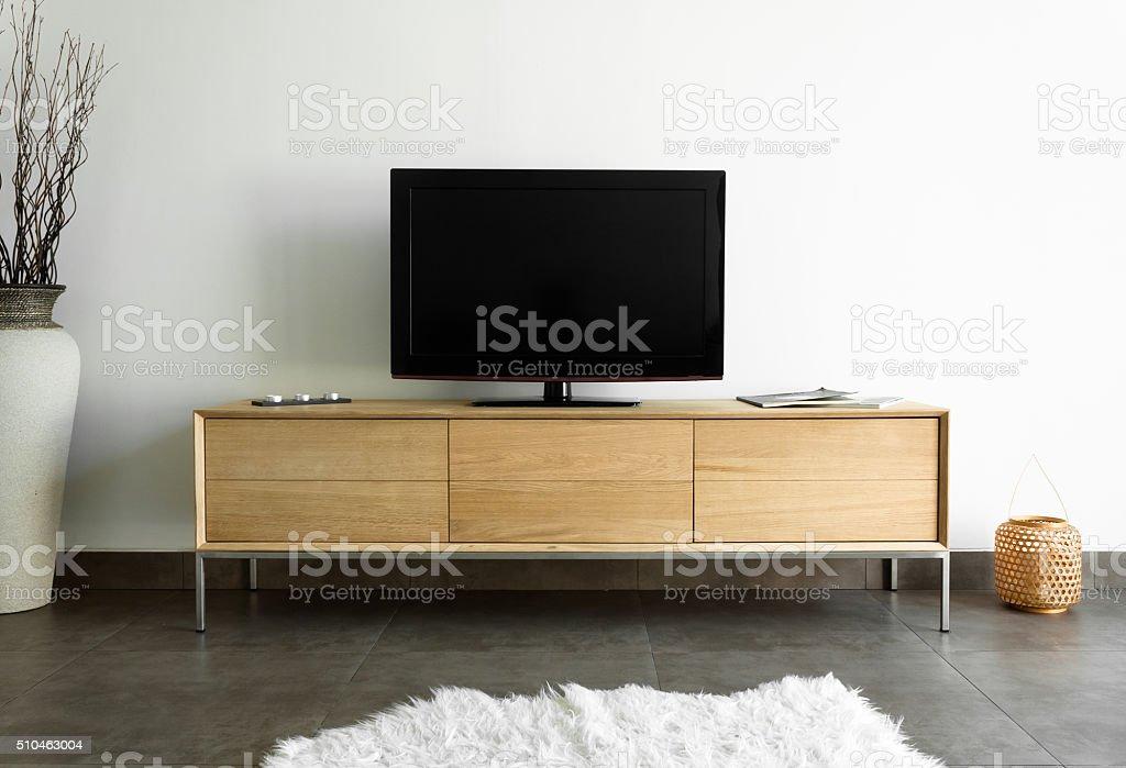 Oak TV stand stock photo