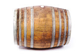 Oak Wine Cask Barrel Side View on White Background