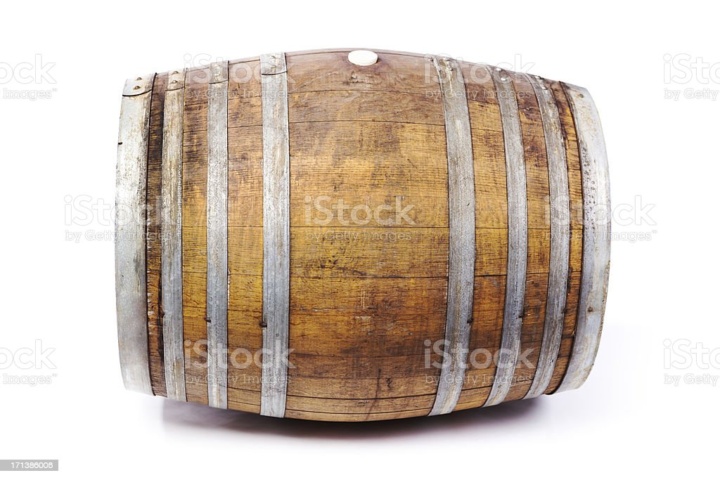 Oak Wine Cask Barrel Side View on White Background stock photo