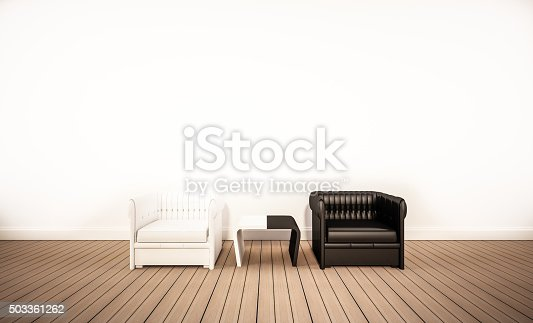 istock Oak wood floor and white wall, with armchairs 503361262