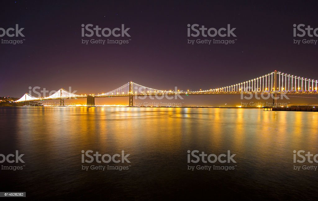Oakland Bay Bridge at Night stock photo
