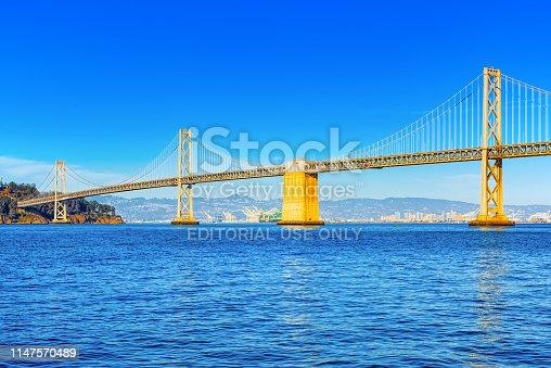 San Francisco, California, USA - September 10, 2018: Oakland Bay Bridge. Ocean Quay in the north of San Francisco.