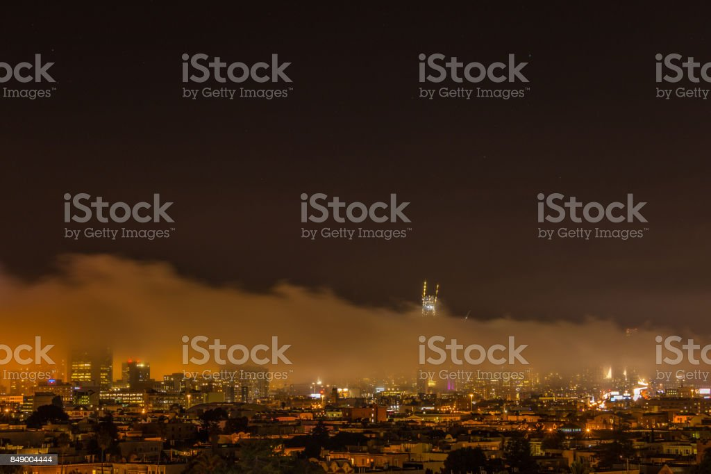 Oakland Bay Bridge Span at night stock photo