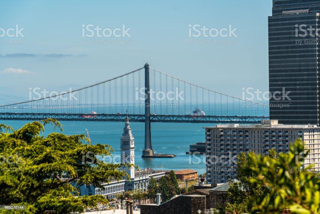 Oakland Bay Bridge to San Francisco , California Suspension bridge over the Bay Area View from Coit Tower zbiór zdjęć royalty-free