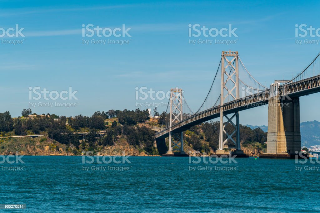 Oakland Bay Bridge to San Francisco , California Suspension bridge over the Bay Area treasure island zbiór zdjęć royalty-free