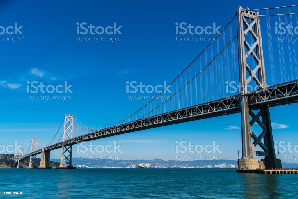 Oakland Bay Bridge to San Francisco , California Suspension bridge over the Bay Area international landmark zbiór zdjęć royalty-free