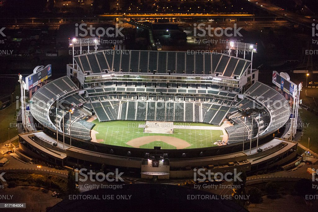 Oakland coliseum vacant at night seen from above stock photo