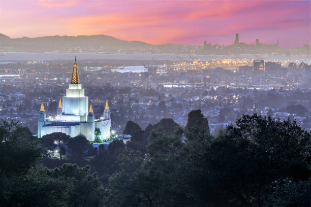 Oakland Temple and City from Oakland Hills. stock photo