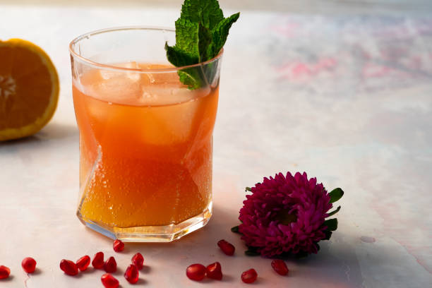 Oange Sparkling Mocktail stock photo