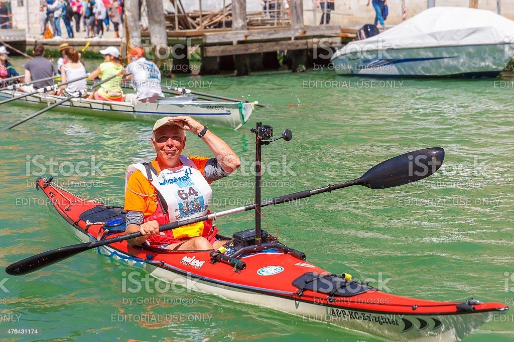 Oarsmen in the Venice Vogalonga regatta, Italy stock photo