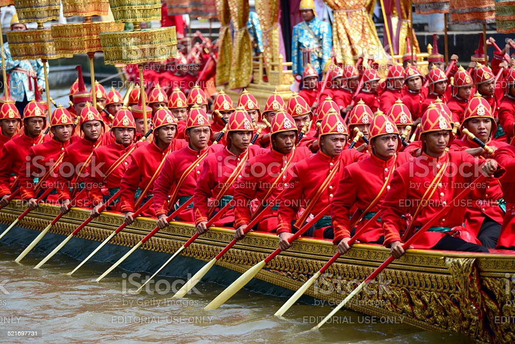 Oarsmen rowing in Suphannahongse boat stock photo