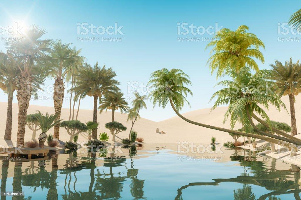 Oasis und Palmen in der Wüste, 3D Rendering – Foto