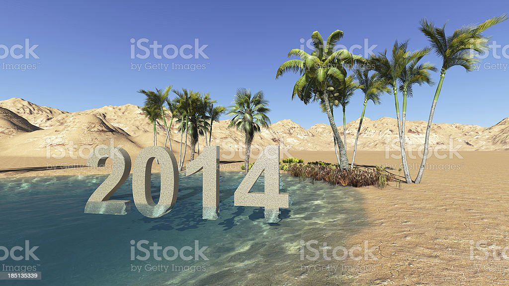 Oasis in the desert 2014 summer royalty-free stock photo