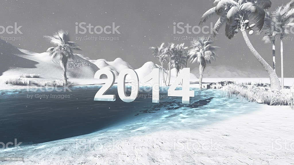Oasis in the desert 2014  winter royalty-free stock photo