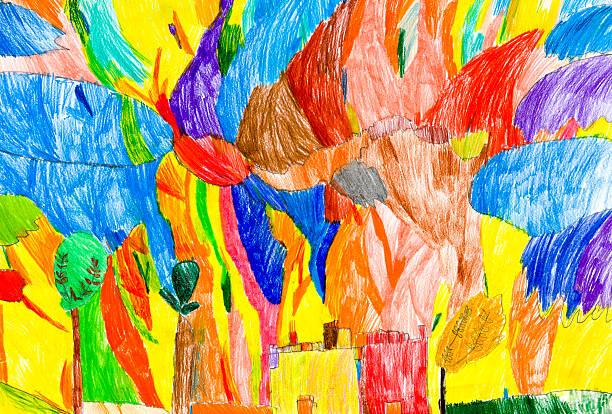 oase von farben - naive malerei stock-fotos und bilder
