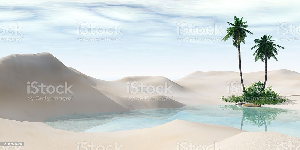 Oasis. Palm trees in the desert. stock photo