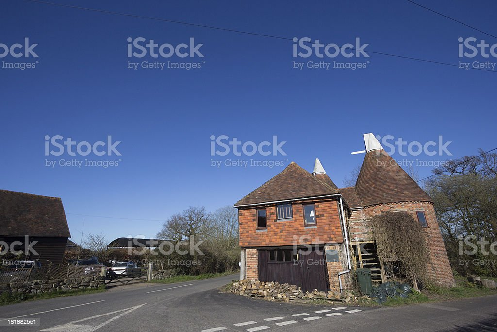 Oast House in Chiddingstone, England stock photo