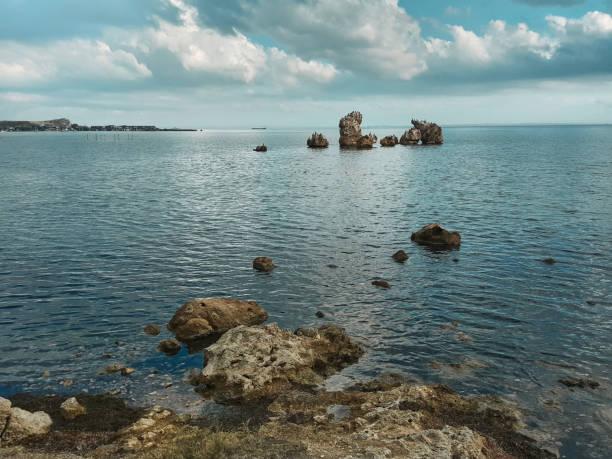 oastale Landschaft mit Wolken. Kertsch. Krim – Foto