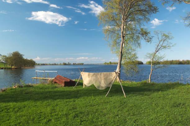 Вoat and fishing net stock photo