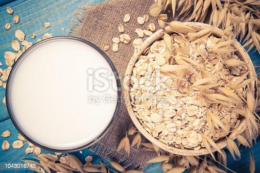 Closeup of oat milk. The concept of a vegetarian diet.