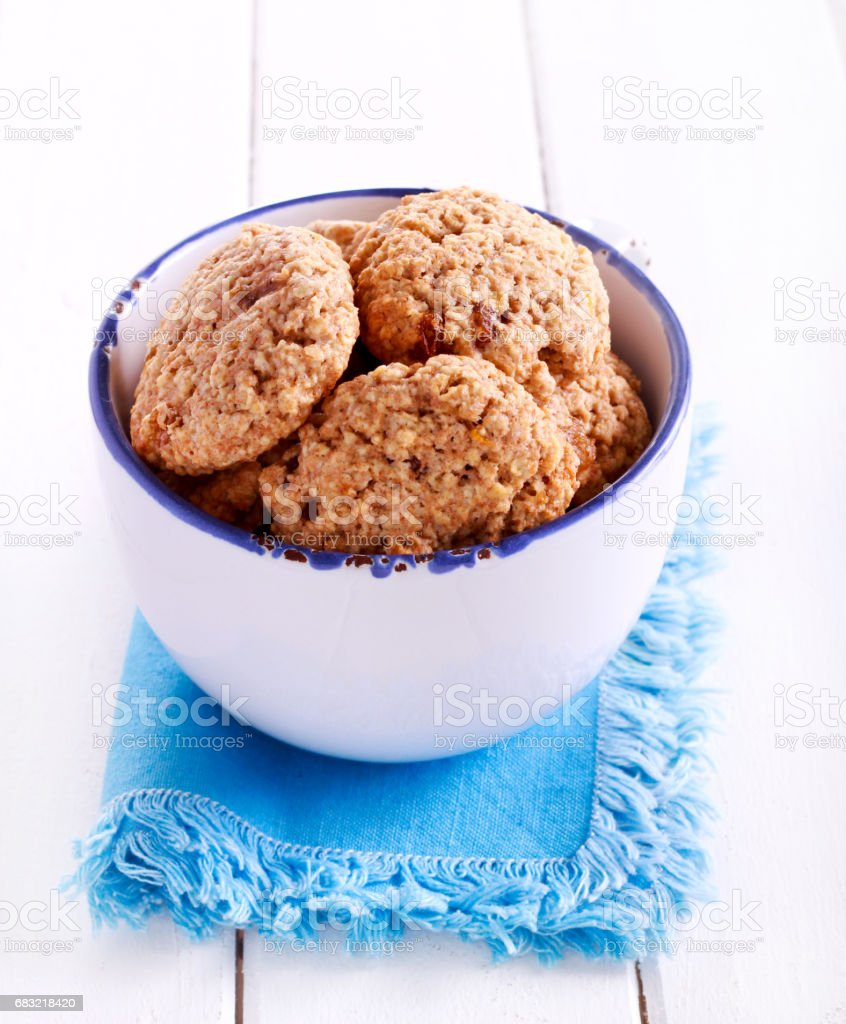 Oat and raisin biscuits royalty-free stock photo