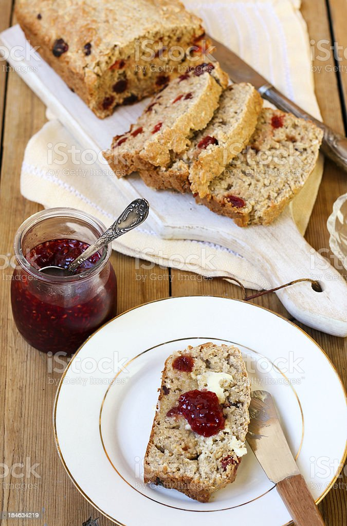 Oat and spelt flour bread with berries royalty-free stock photo