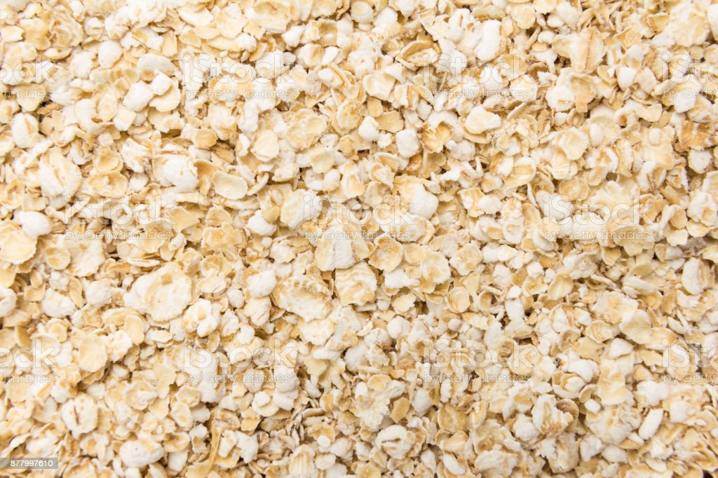 Oat cereal flake. Closeup of grains, background use. stock photo