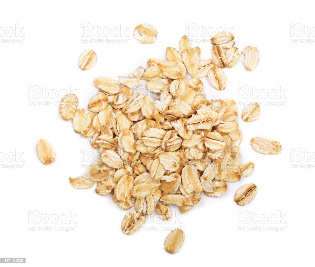 oat flakes isolated on white background. Top view - Royalty-free Acima Foto de stock