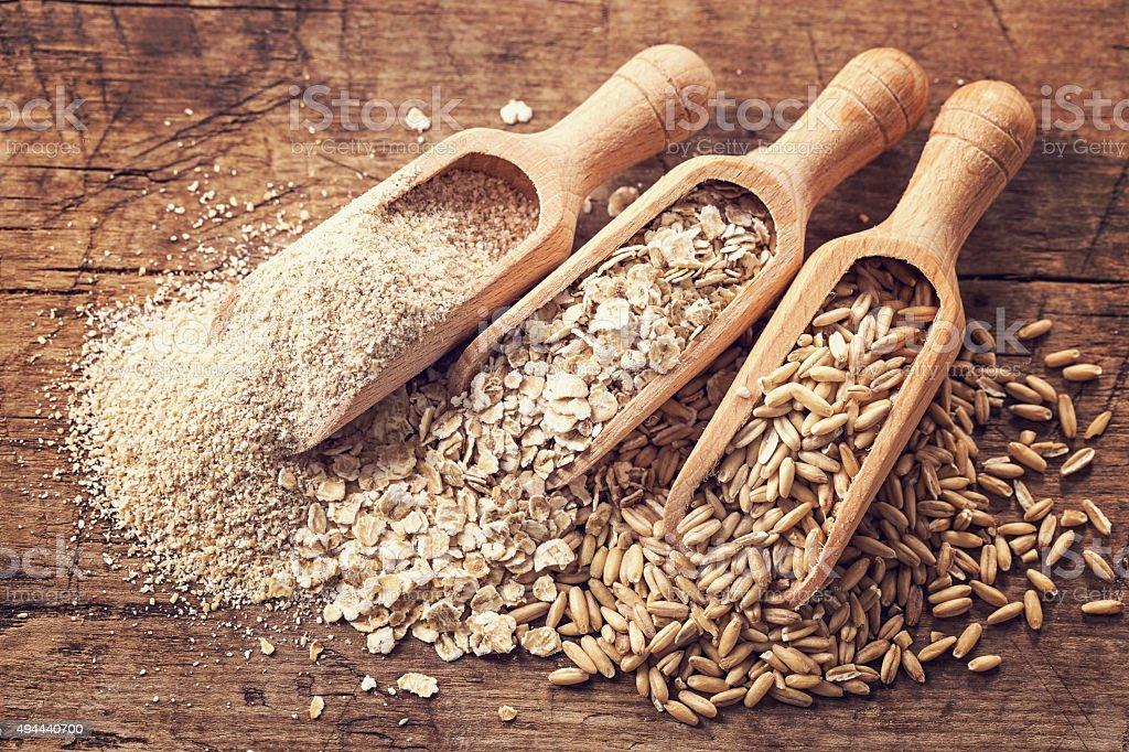 Sementes de aveia e Flocos de Farelo - Royalty-free Alimentação Saudável Foto de stock