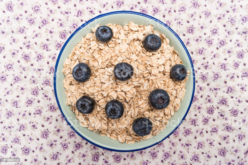 Oat flakes with blueberries - Royalty-free Agriculture Stock Photo