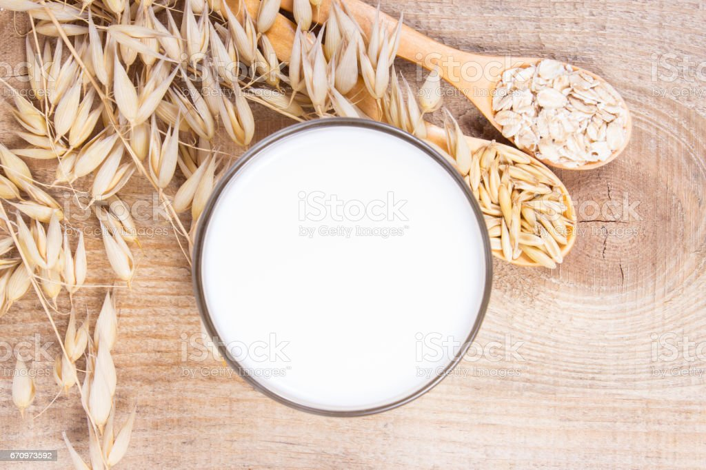 Oat milk, the concept of a vegetarian diet. stock photo