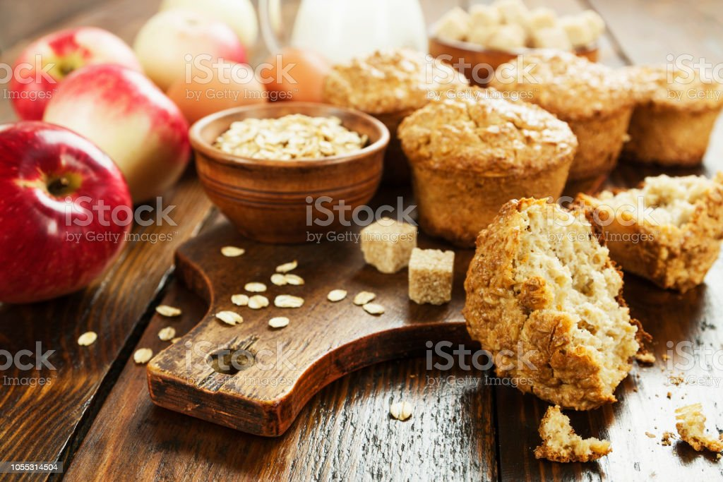 Oat muffins with apple stock photo