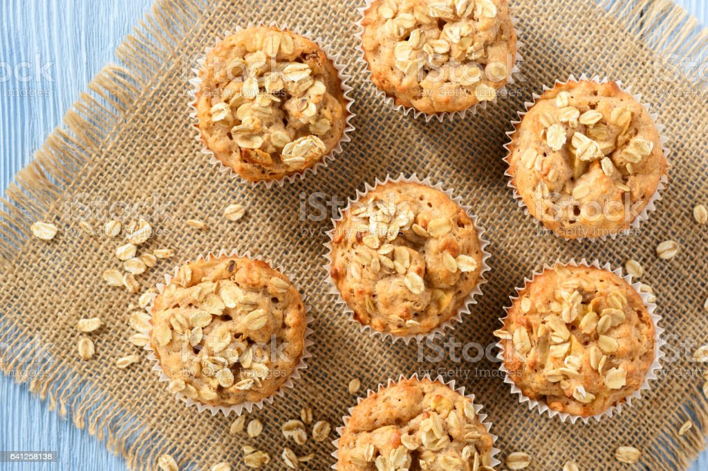 Oat muffins with apples and cinnamon. stock photo