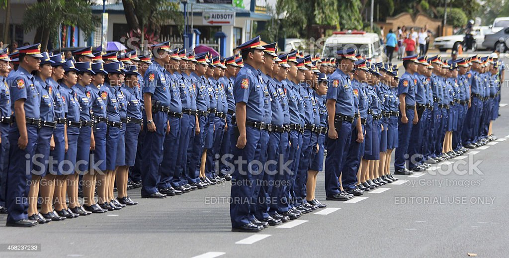 Oath taking of new law enforcers stock photo