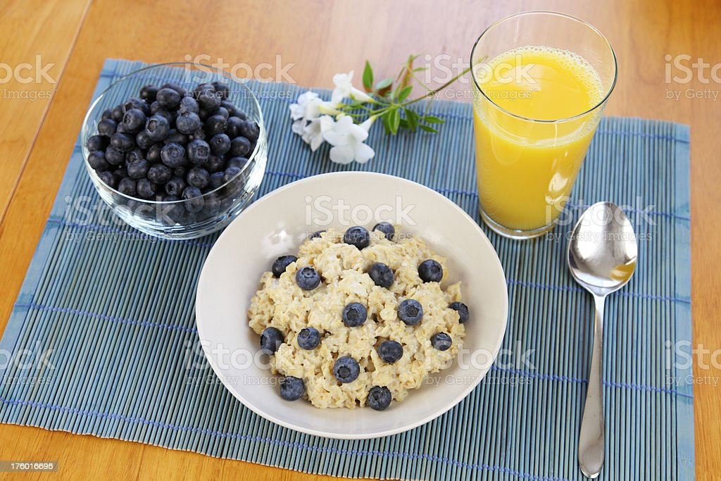 Oatmeal and Blueberry Breakfast royalty-free stock photo