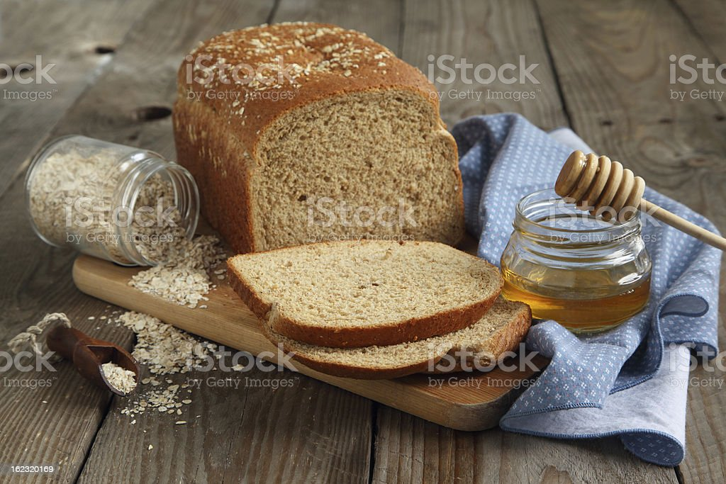 Oatmeal and honey bread stock photo