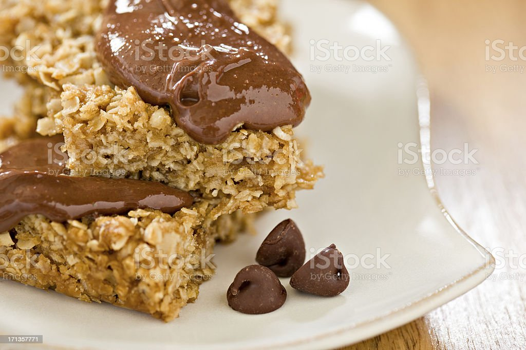 Oatmeal Bars With Chocolate Topping royalty-free stock photo