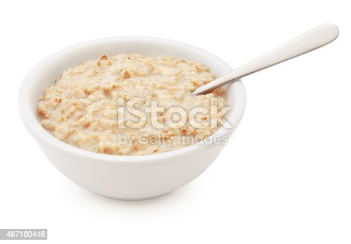 Oatmeal Bowl and spoon isolated on white (excluding the shadow)