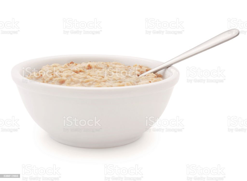 Oatmeal Bowl and spoon (with path) stock photo
