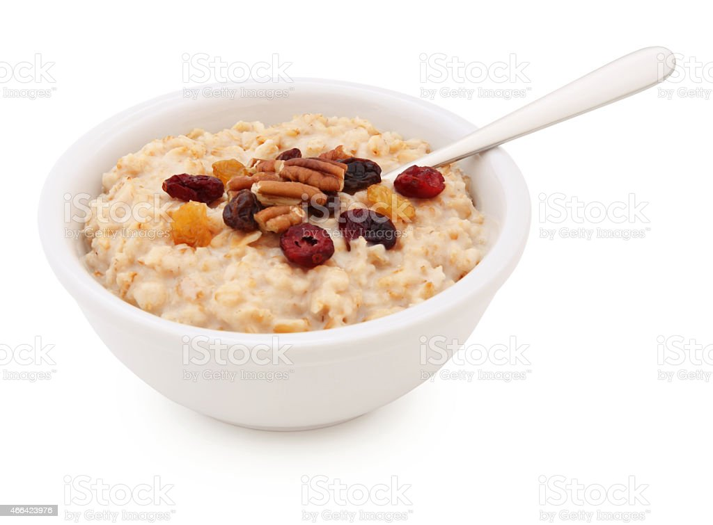 Oatmeal Bowl with dried fruits and nuts (with path) stock photo