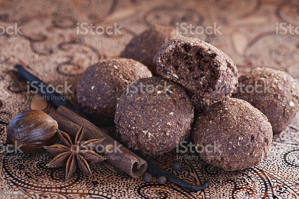 Oatmeal, bran and chocolate cookies royalty-free stock photo
