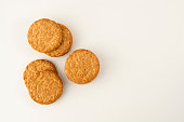 istock Oatmeal cookie isolated on white. Healthy round cookies. 1133780691