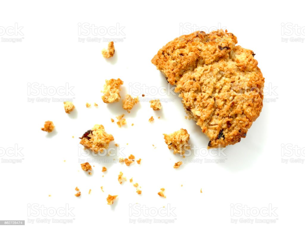 Oatmeal cookie with crumbs stock photo