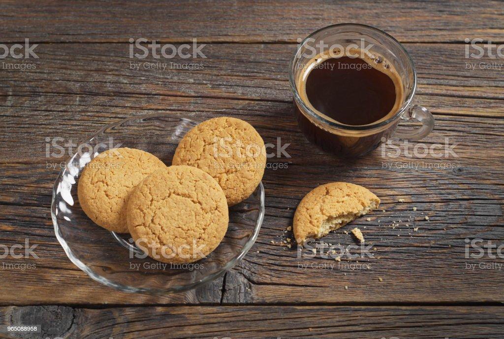 Oatmeal cookies and coffee zbiór zdjęć royalty-free