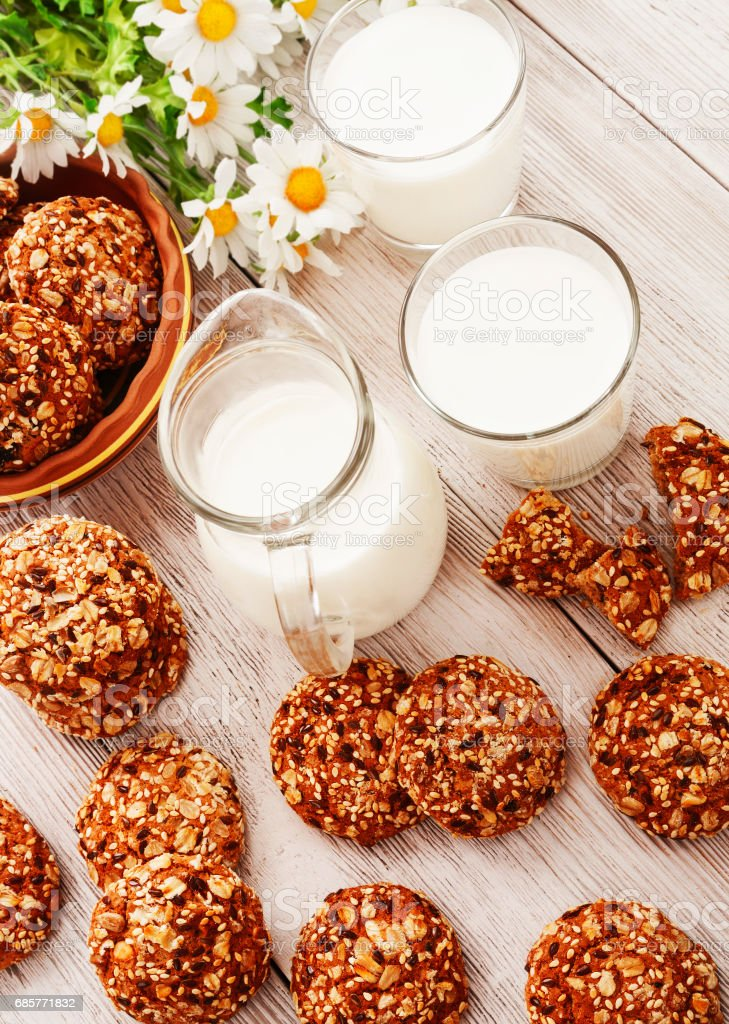 Oatmeal cookies and milk royalty-free stock photo